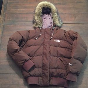 North Face 550 Down Brown Hooded Puffer Jacket S
